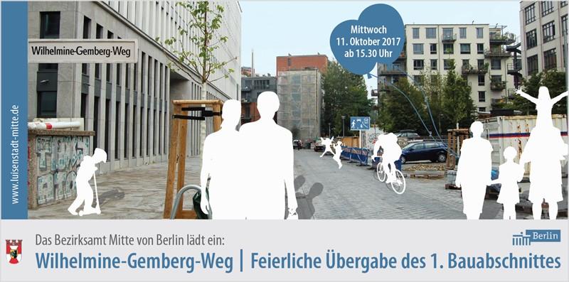 Einladung zur Übergabe des Wilhelmine-Gemberg-Weges