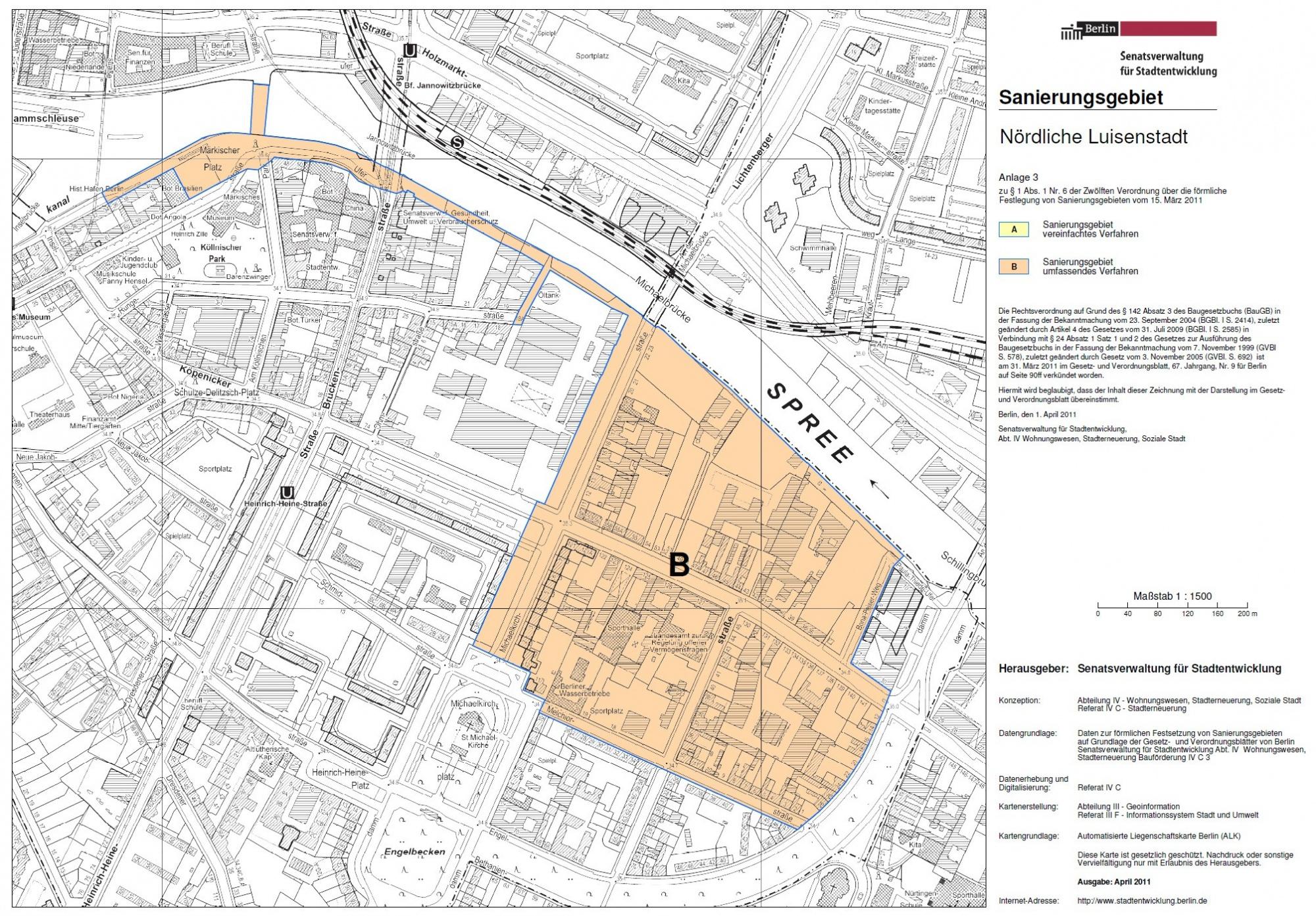 Offizieller Plan des Sanierungsgebietes Stand 2011